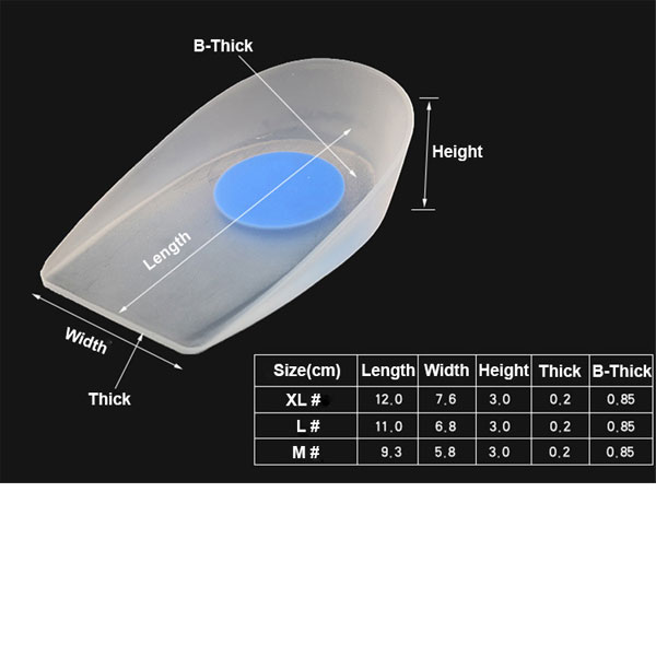 2019 Medical Silicone Heel Cup Insole Foot Care Silicone Cushion Pad for Foot Spurs Pain Relief ZG-495