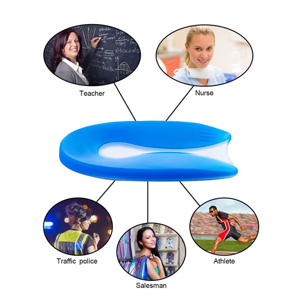 Medical Silicone Heel Pad Foot Massager Gel Back Cushion Pad For Shoes ZG-1873