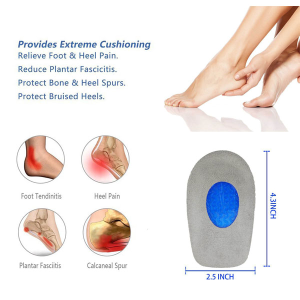 Super Comfortable Foot Care Silicone Gel Insole Heel Cups For Adults ZG-1898